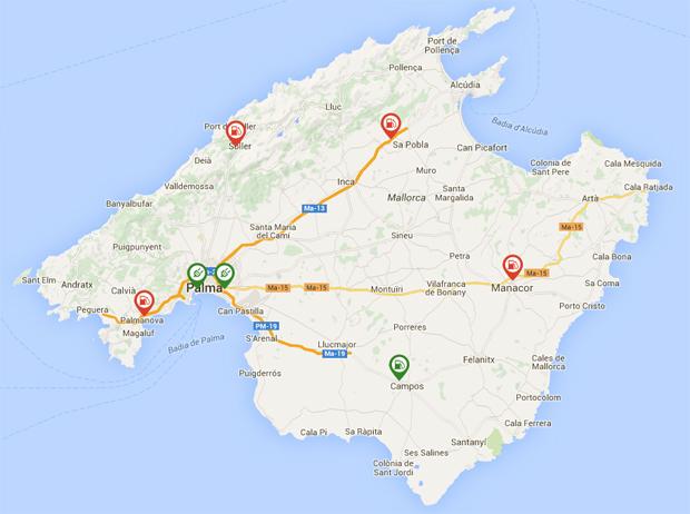 Gut verteilt: Die DC-Schnelllader auf Mallorca sind für Ausflugsfahrten aus allen Ecken der Insel günstig platziert.