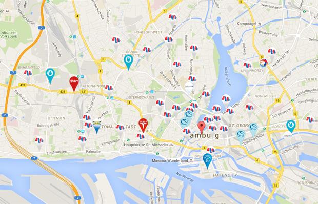 Die Ladepunkte im Hamburger Zentrum sind gut verteilt. Bild: Screenshot von plugfinder.de
