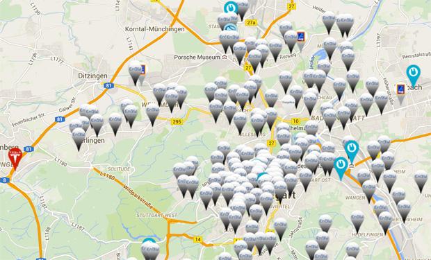 An Ladepunkten mangelt es im Raum Stuttgart nicht. Bild: Screenshot von plugfinder.de