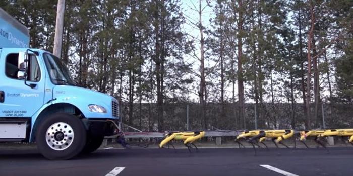Skurriler E-Antrieb: Lkw wird von Roboterhunden gezogen