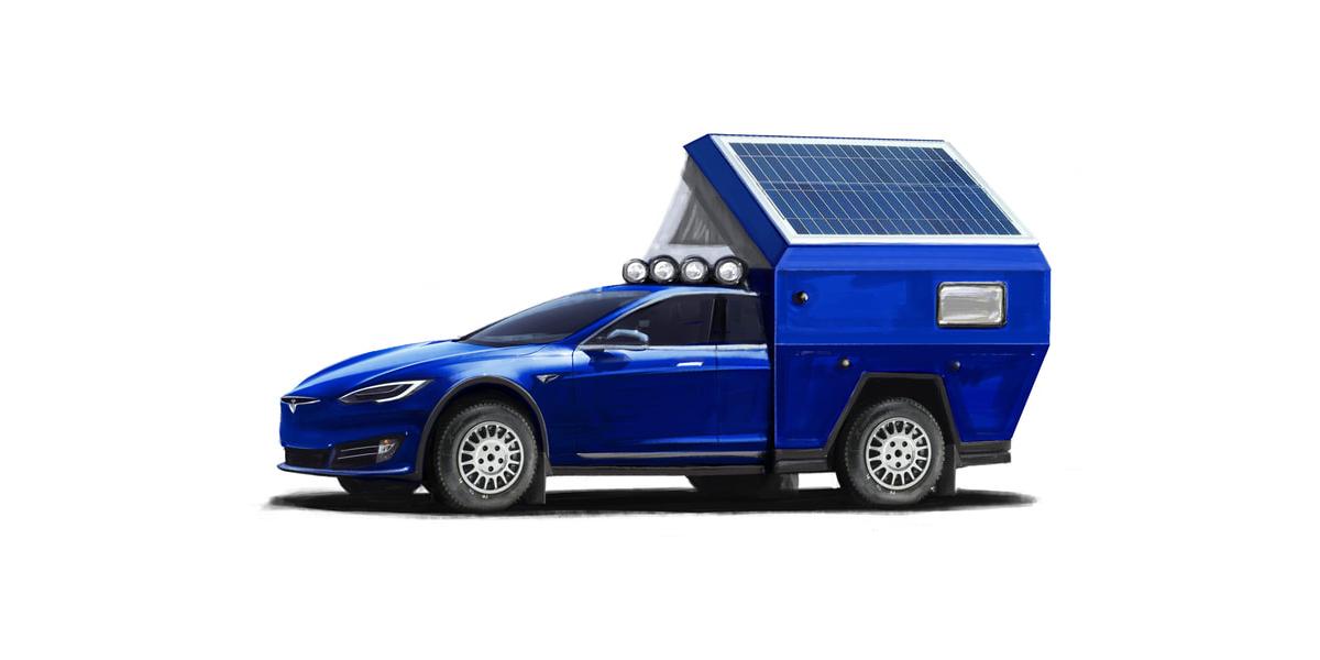 Tesla Model S mit Camping-Aufbau namens Roamer