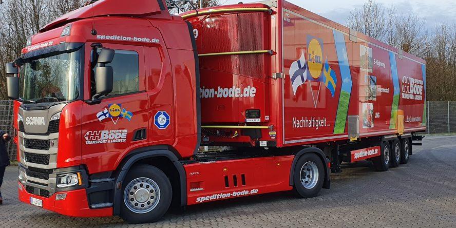 Scania R 450 Hybrid Oberleitungs-Lkw der Spedition Bode