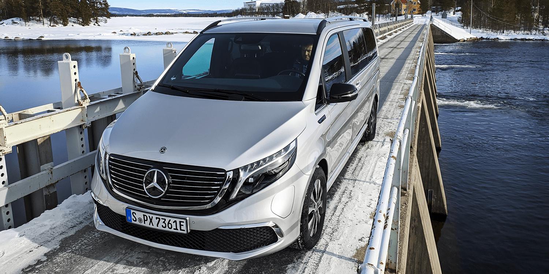 Härtetest: Mercedes erprobt EQV im eisigen Norden